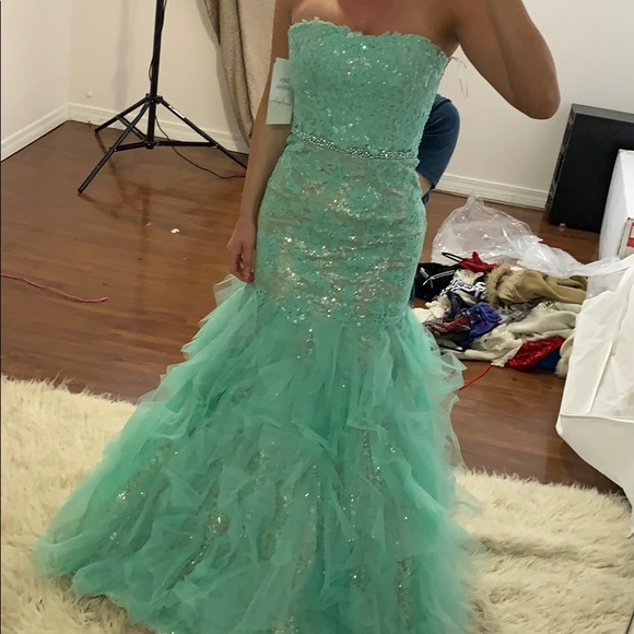 Sherri Hill Dresses & Skirts - Teal Sherri hill summer wedding gown size 0
